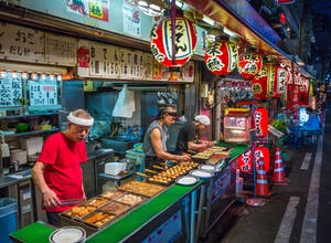 Takoyaki selling in Osaka