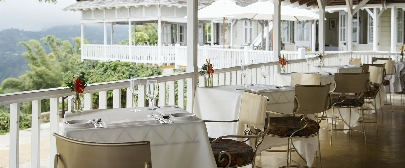 Enjoy new Jamaican cuisine in the restaurant at Strawberry Hill, Jamaica