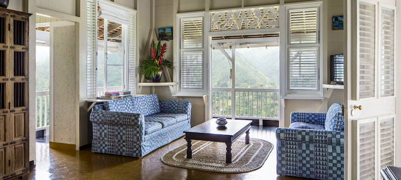 Two bedroom villa lounge area at Strawberry Hill, Jamaica