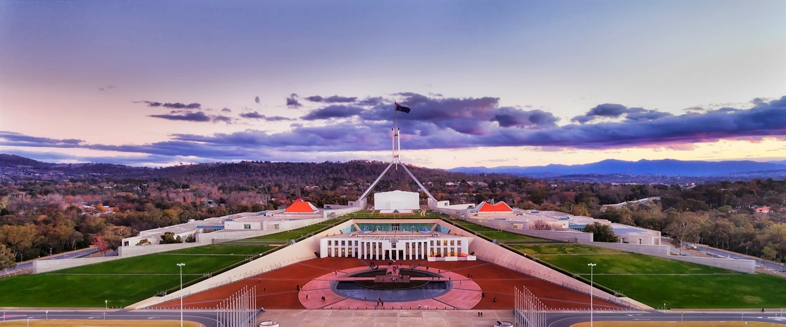 aerial view around capitol hill in canberra