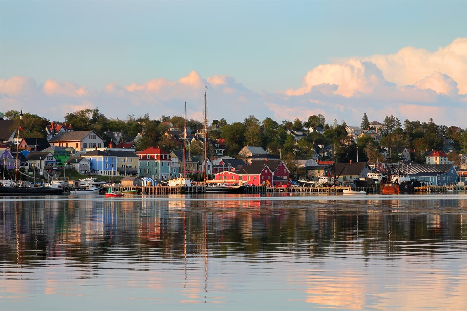 view of the famous harbor front of lunenburg