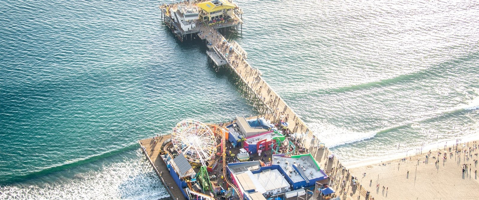 aerial view of santa monica pier
