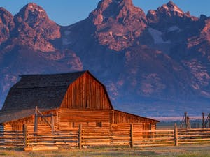 sunrise of historic moulton barn grand teton national park