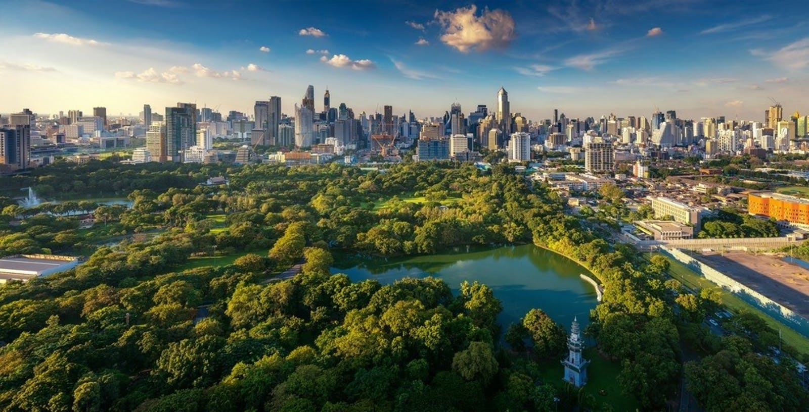 lumpini park and bangkok city building view