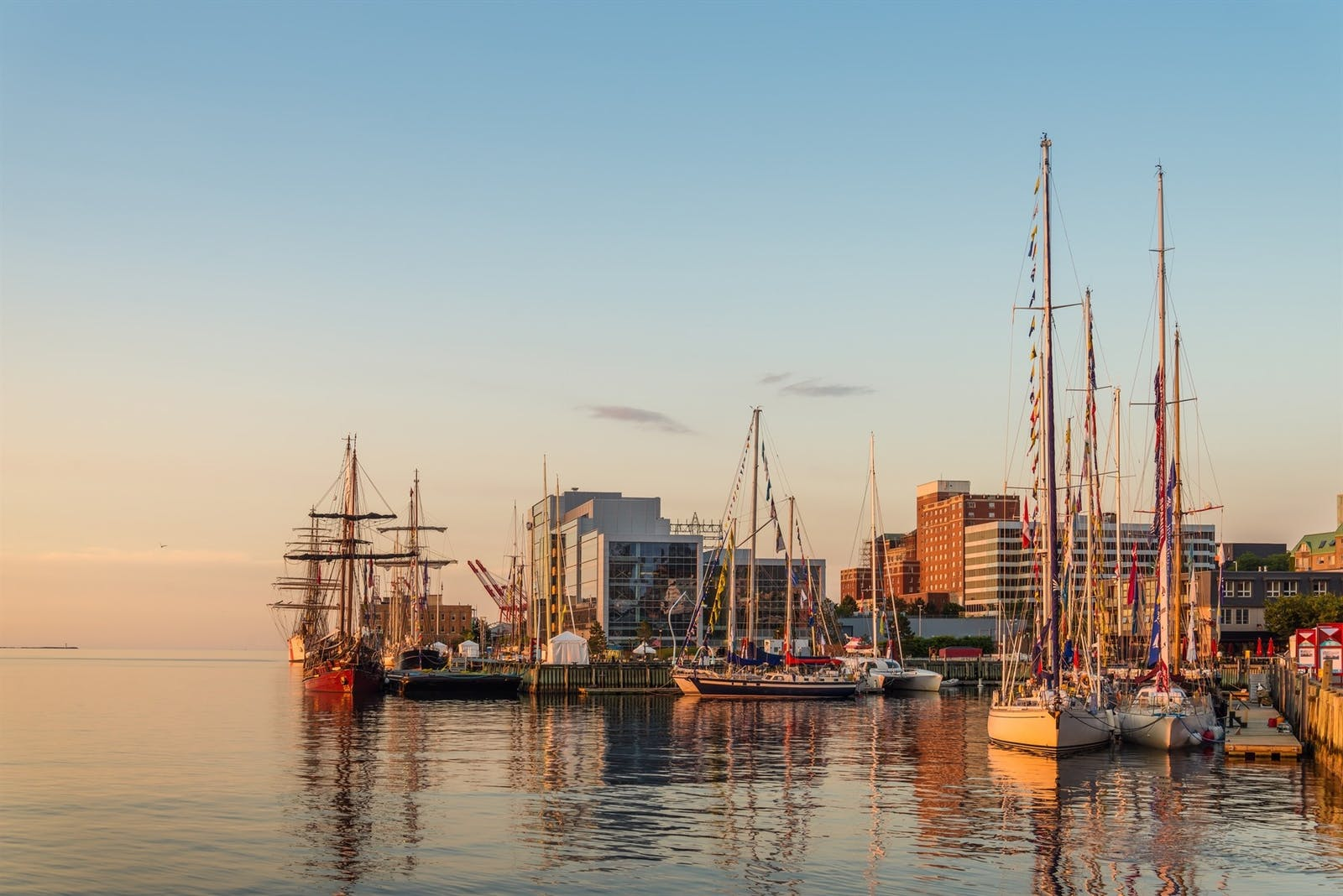 halifax in the early morning during the nova scotia tall ship festival