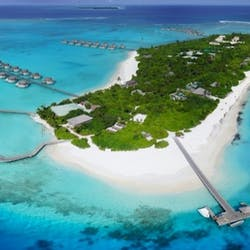 Aerial View of Six Senses Laamu, Maldives