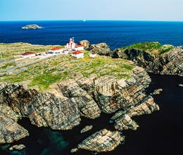 aerial image of cape bonavista lighthouse