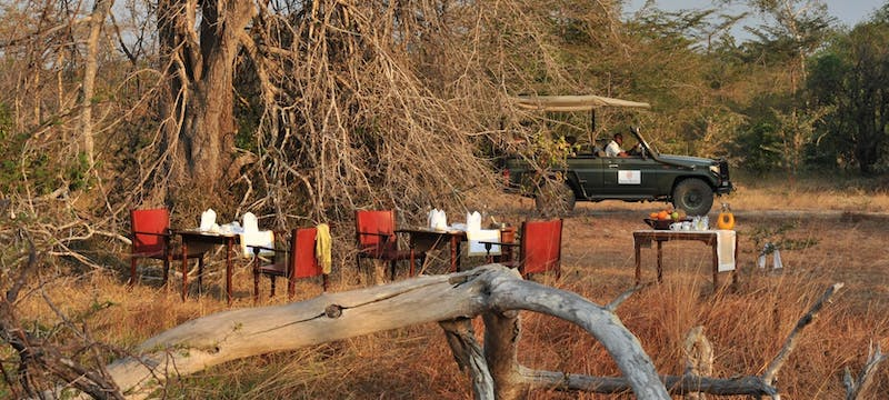 Breakfast in the bush at Selous Serena Camp