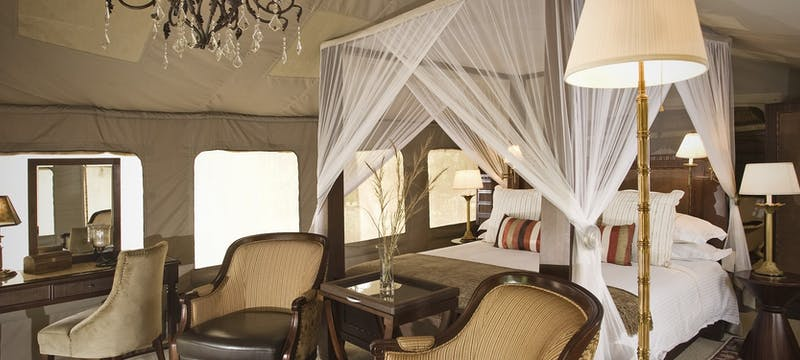 Tent interior at Selous Serena Camp