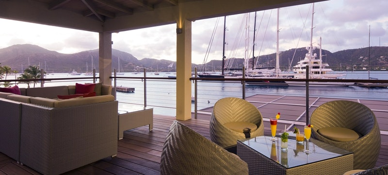 Classy lounge with a beautiful view at South Point, Antigua