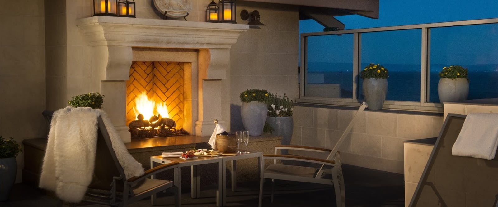 Spa Fireplace at Monterey Plaza, California