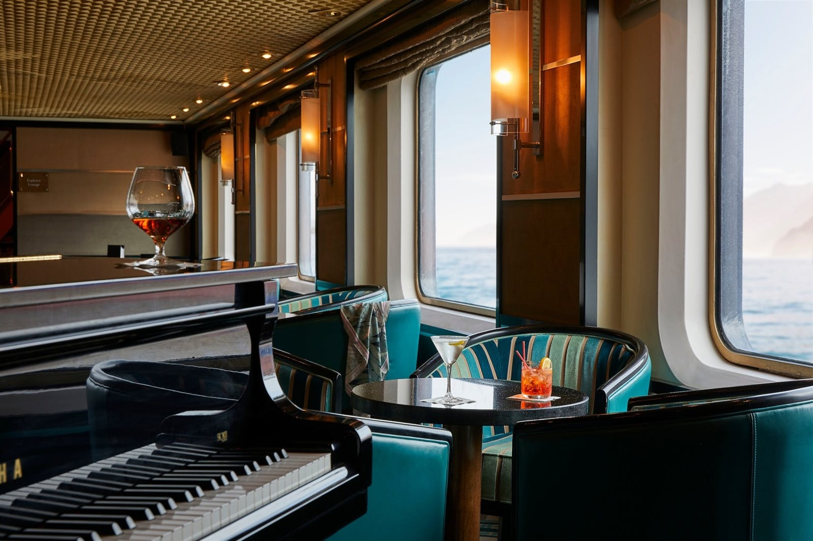 Relaxing by the piano at Silversea Silver Cloud