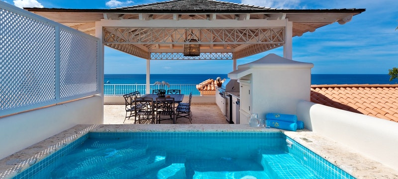 Pool area in the deluxe beachfront penthouse at Saint Peters Bay, Barbados