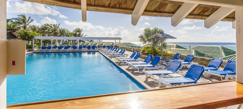 Exterior view of the main swimming pool at St Jame's Club & Villas, Antigua