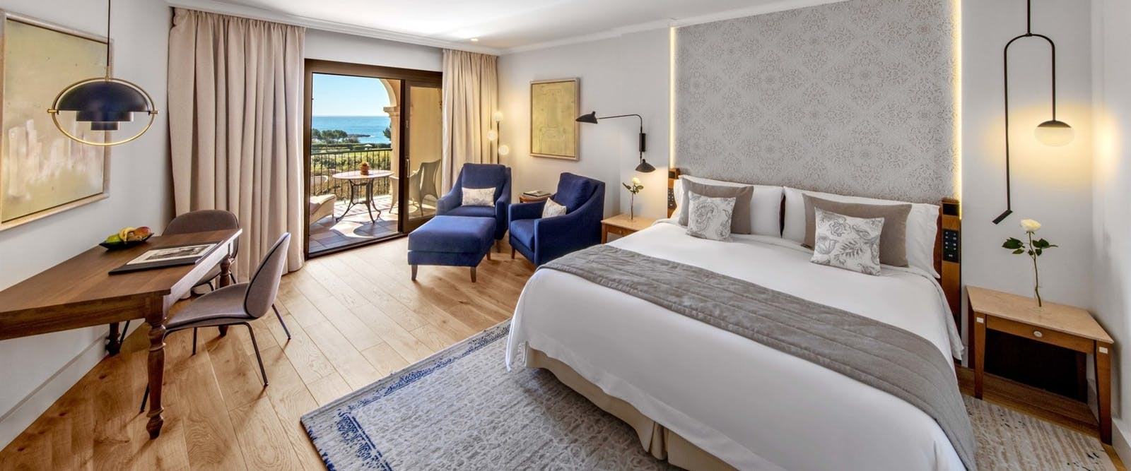 Blue Oasis Bedroom at The St Regis Mardavall Mallorca Resort, Spain