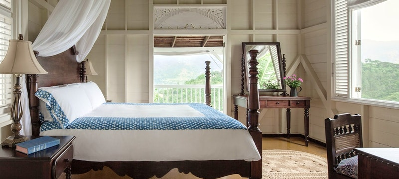 Mountain view from studio bedroom window at Strawberry Hill, Jamaica