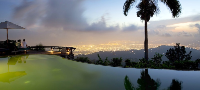 Infinity pool with a stunning view at Strawberry Hill, Jamaica