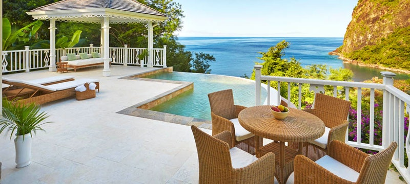 Private terrace and pool area at Sugar Beach, A Viceroy Resort
