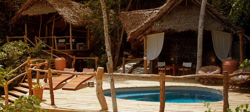 Private deck area in suite at Fundu Lagoon