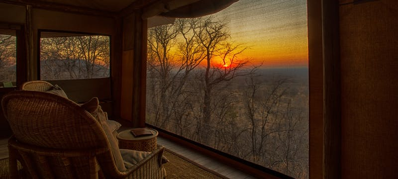 Sunrise from the tented rooms at Ghoha Hills