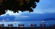 Enjoy dinner at sunset along the beach at Montpelier Plantation & Beach
