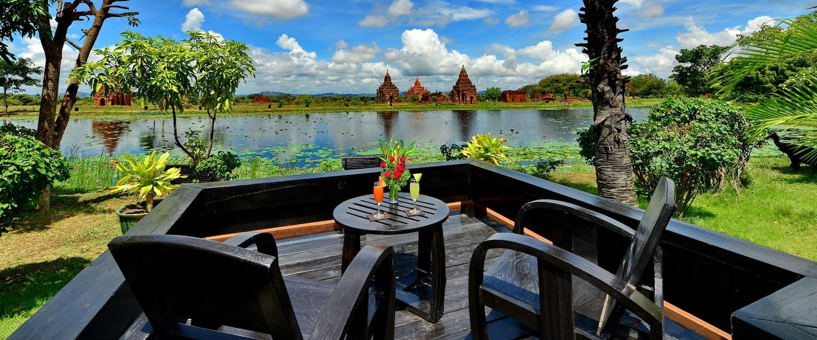 Temple lake view from Jasmine Villa terrace at Aureum Palace Hotel Bagan