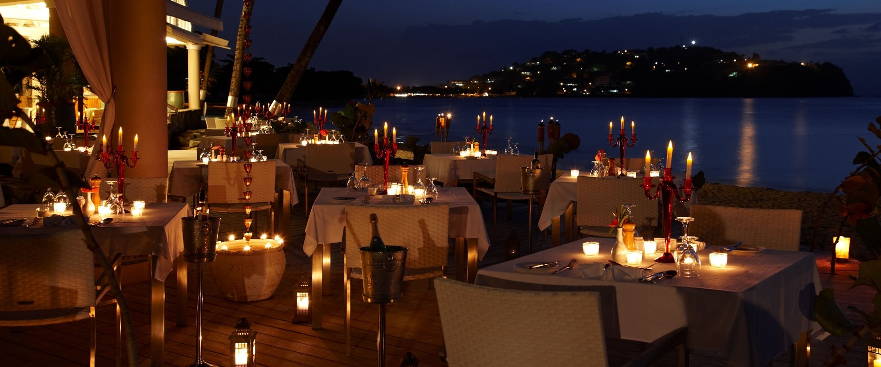 The Terrace Restaurant in the evening at Rendezvous, St Lucia