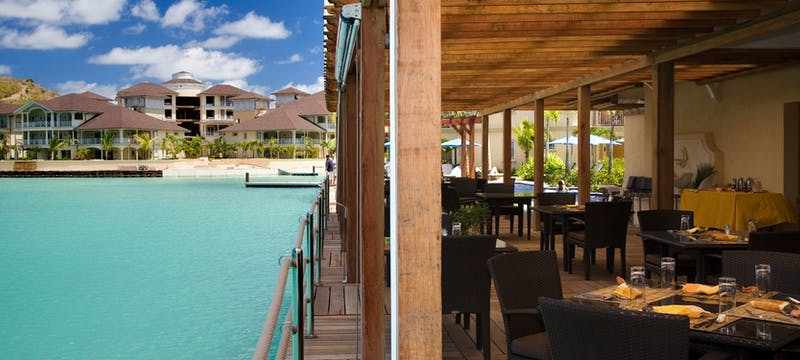 Casual dining on the waters edge at The Landings Resort and Spa by Elegant Hotels