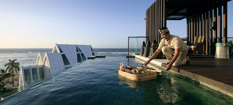 Floating breakfast in room at The Ritz-Carlton, Bali