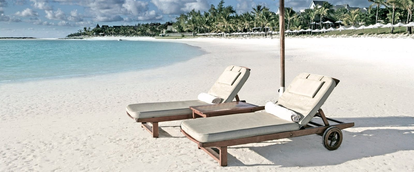 Sun Loungers on Beach at The Residence Mauritius, Indian Ocean