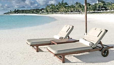 Sun Loungers on Beach at The Residence Mauritius