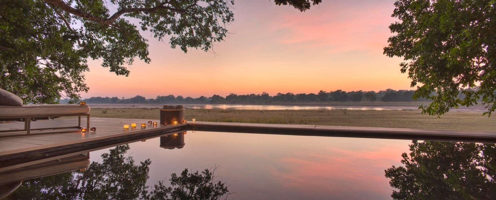 Sunset View at Time + Tide Chinzombo, South Luangwa Safari, Zambia, Africa