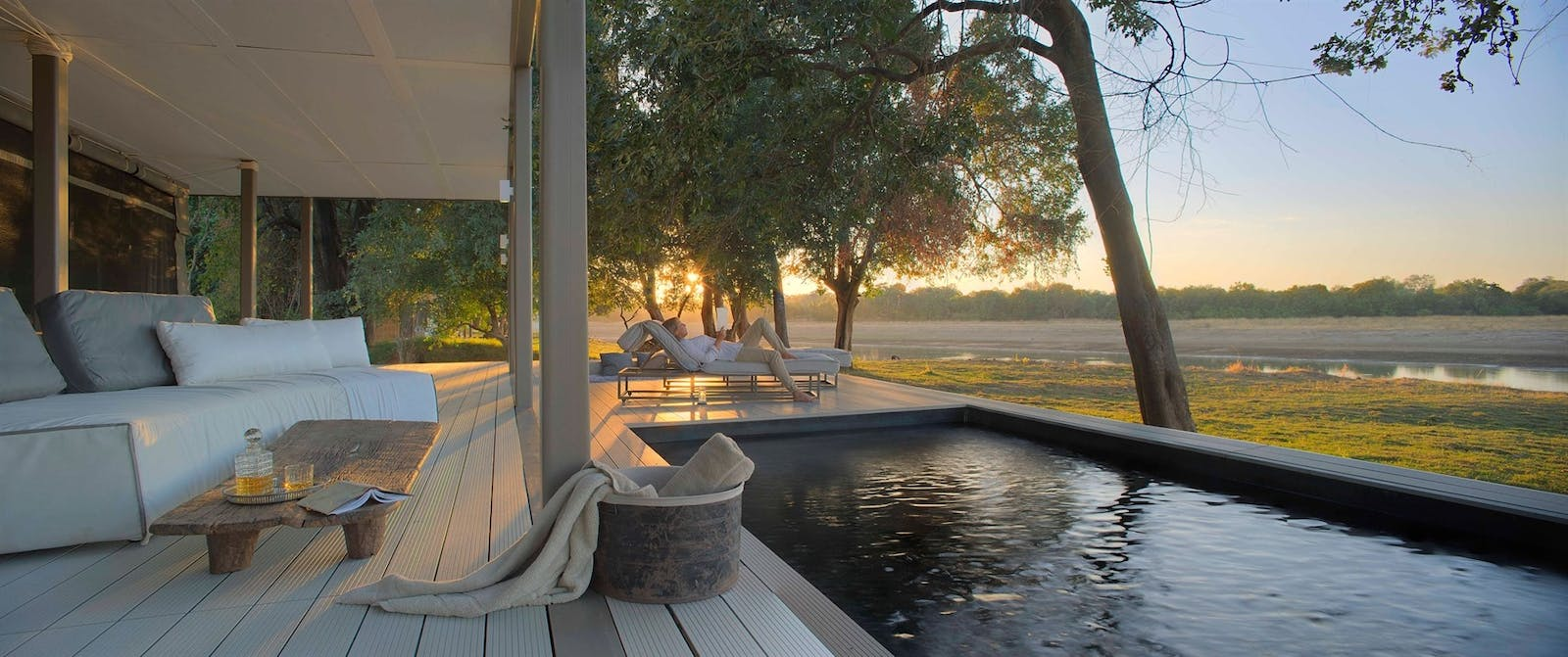 One=bedroom Villa Pool at Time + Tide Chinzombo, South Luangwa Safari, Zambia, Africa