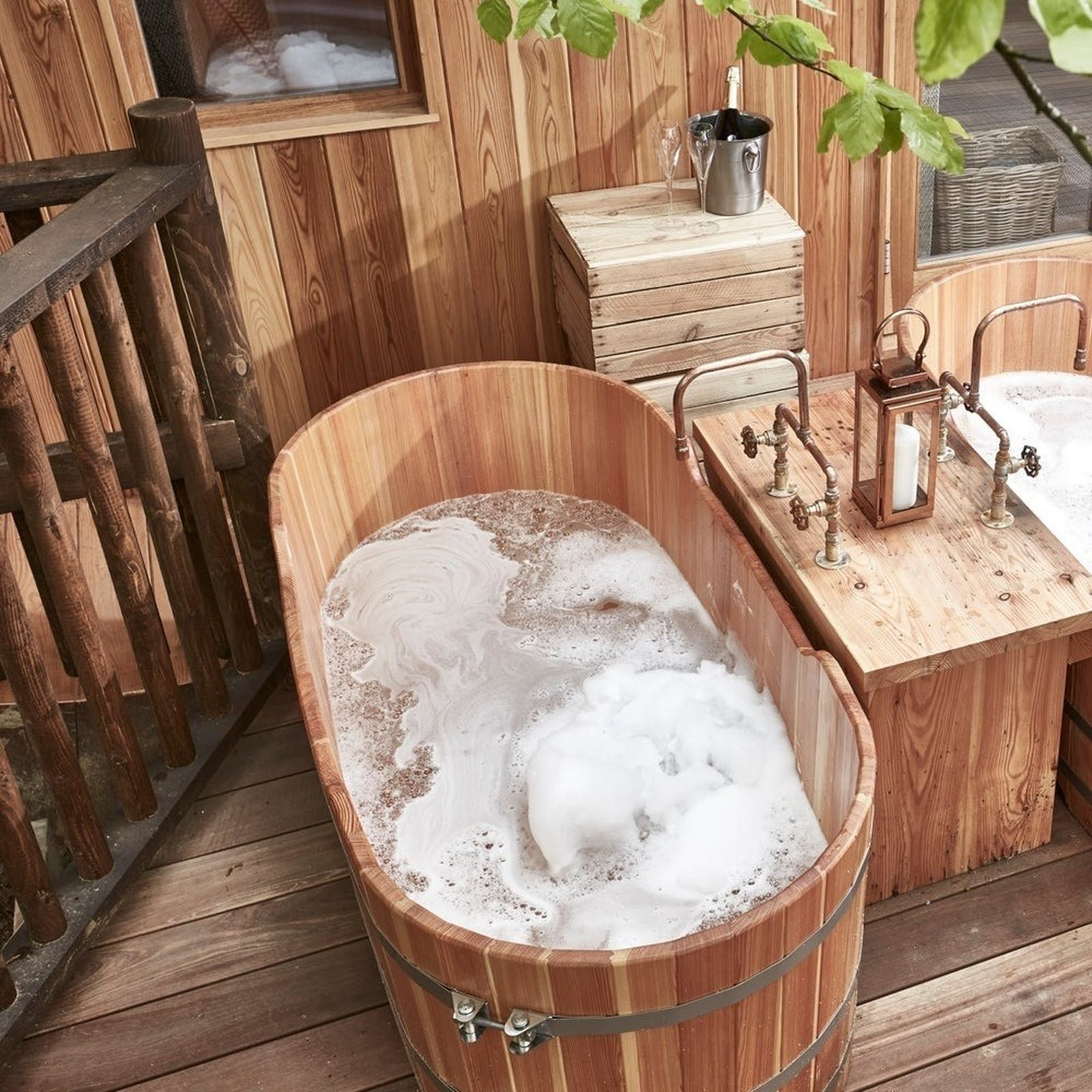 Treehouse Bath at The Fish, Farncombe Estate, England, UK