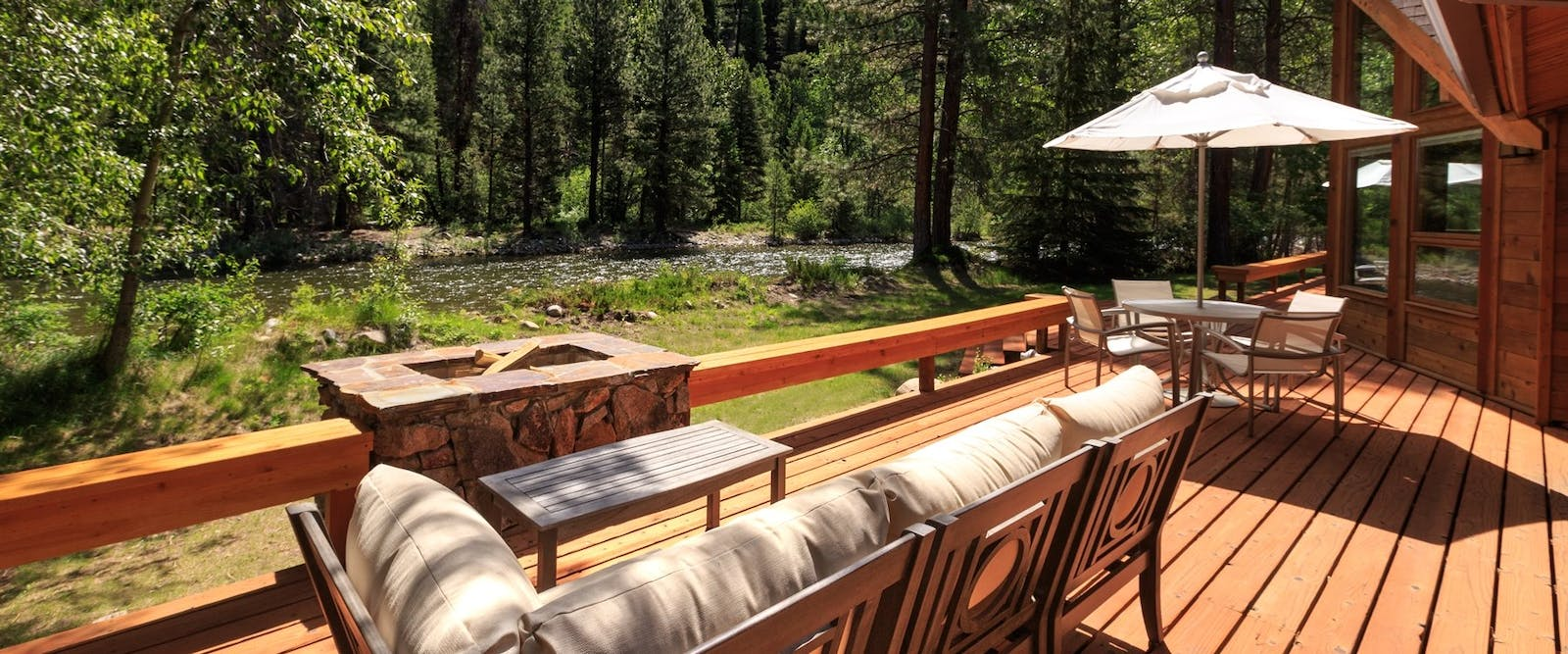 Luxury Riverside Ranch Home Balcony, Triple Creek Ranch