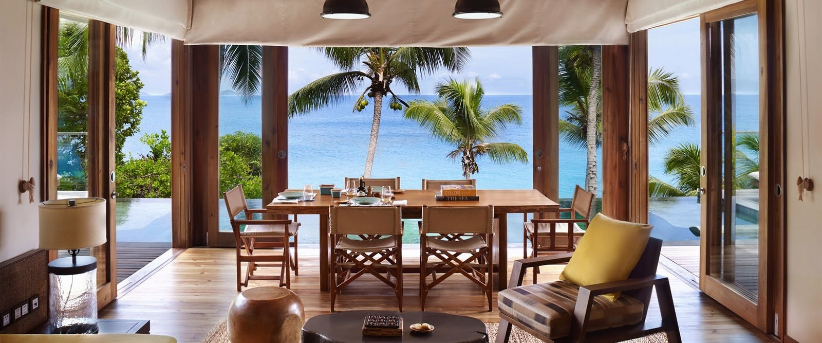 Pool Villa Living Room at six senses zil payson seychelles