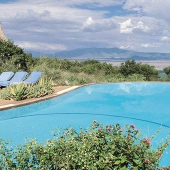 Swimming pool area at Lake Manyara Serena Safari Lodge