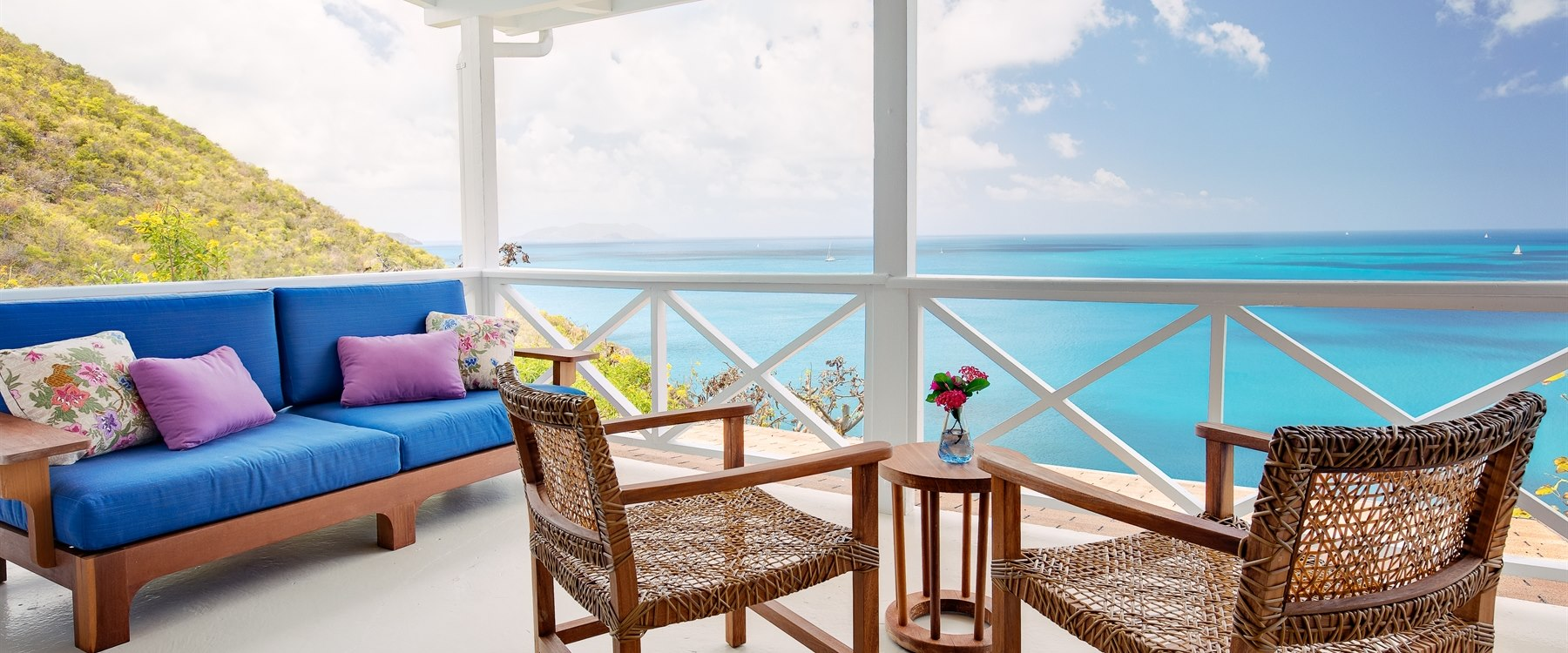 Terrace overlooking the ocean at Guana Island, British Virgin Islands