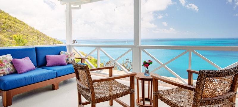 Terrace overlooking the ocean at Guana Island, British Virgin Islands