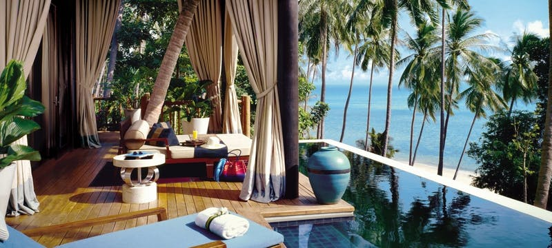 Villa pool deck with day bed at Four Seasons Resort Koh Samui