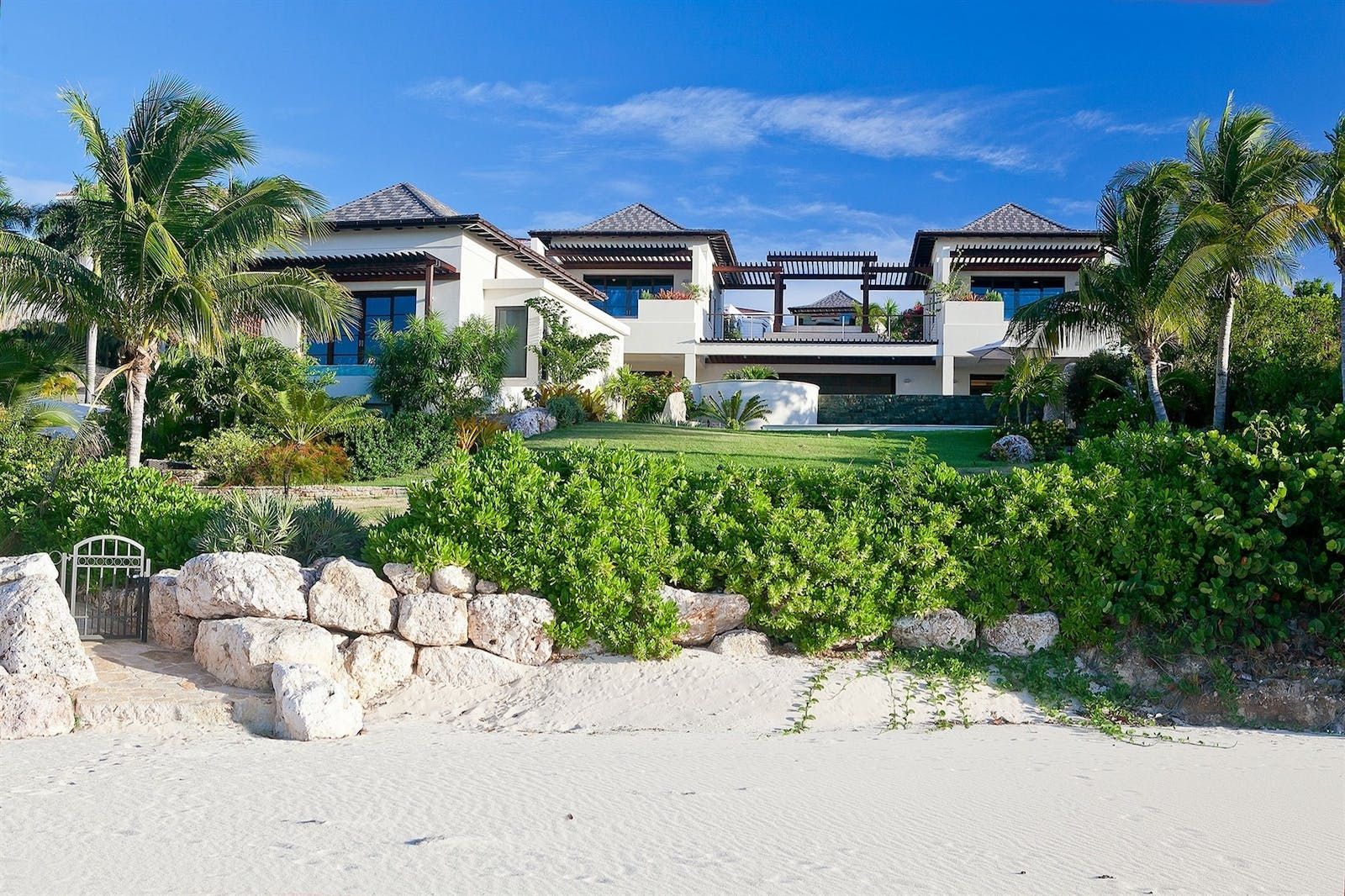 exterior view from beach - nevaeh villa anguilla