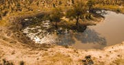 Aerial view of water hole at Ghoha Hills