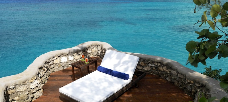 Private terrace in the White Suite at Jamaica Inn, Jamaica