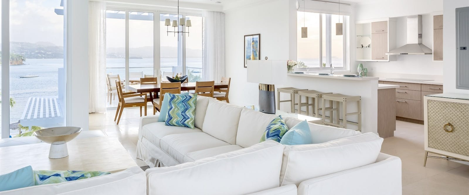 Lounge area in Two & Three Bedroom North Point Villas at Windjammer Landing