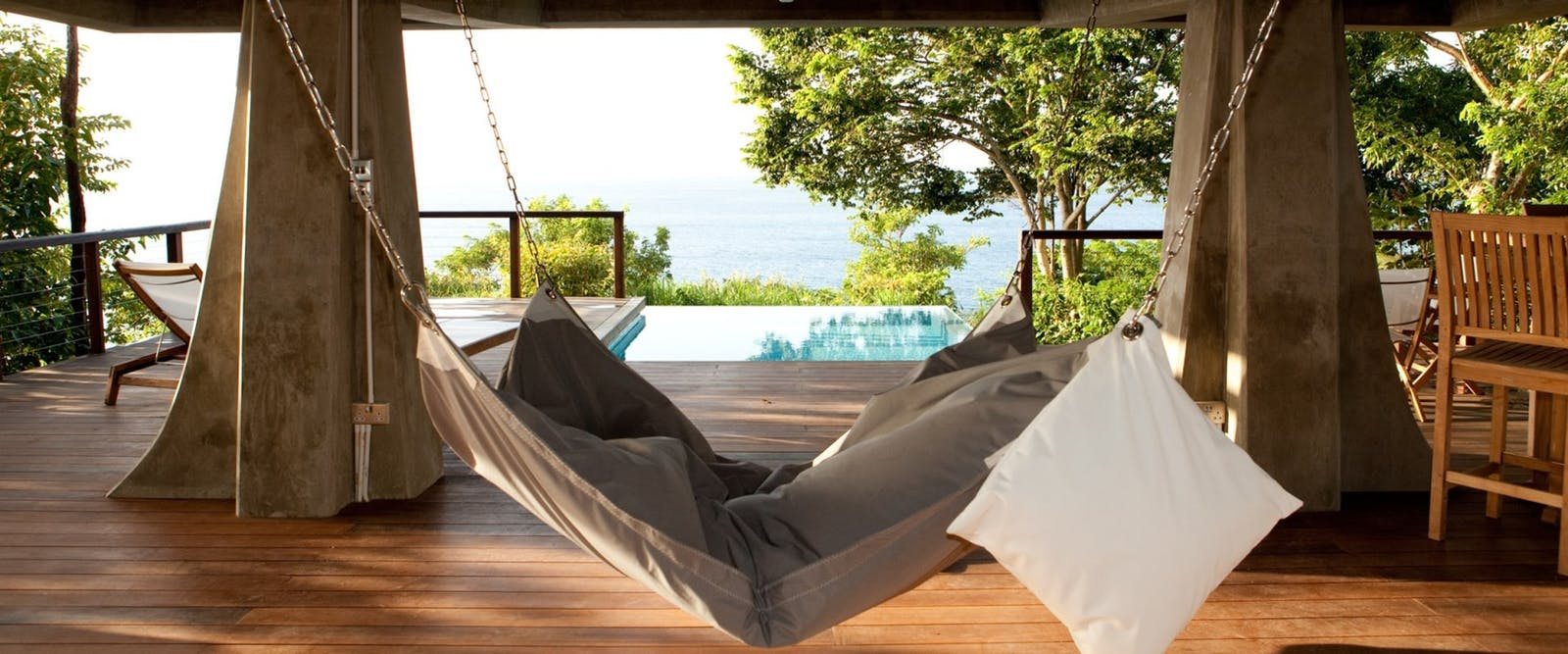 Hammock on Zabuco Honeymoon Villa Terrace at Secret Bay, Dominica